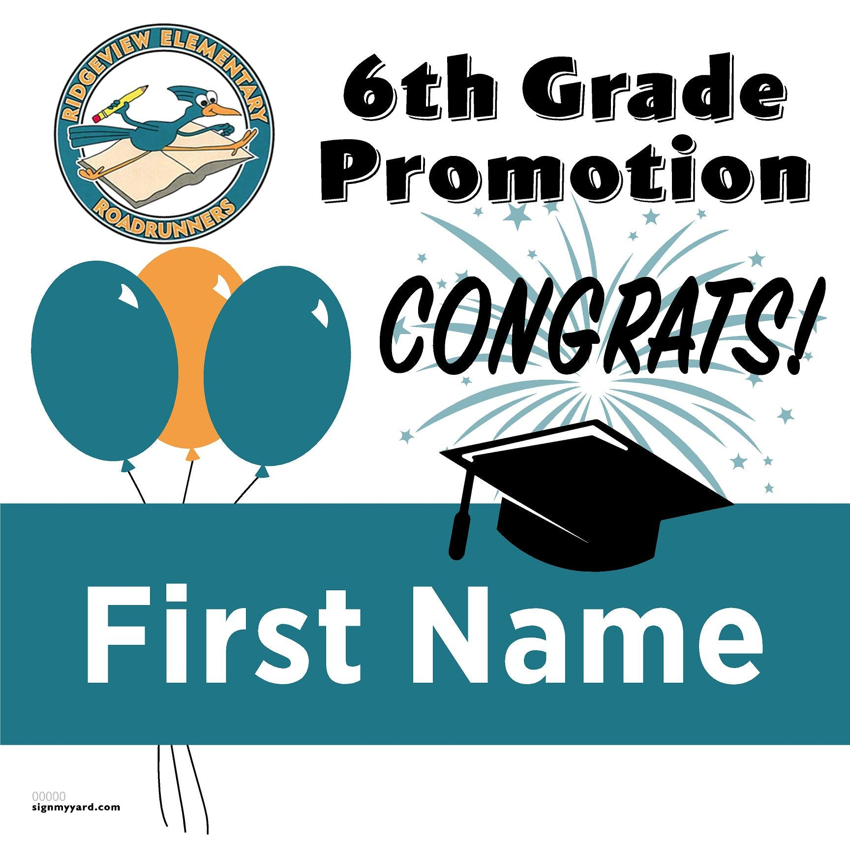 Rideview Elementary School 5th Grade Promotion 24x24 #shineon2027 Yard Sign (Option A)