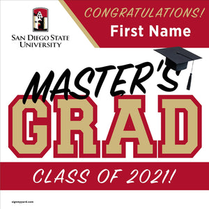 San Diego State University (Masters) 24x24 Class of 2021 Yard Sign (Option A)