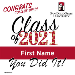San Diego State University 24x24 Class of 2021 Yard Sign (Option B)