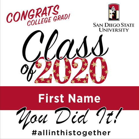 San Diego State University 24x24 Class of 2020 Yard Sign (Option B)