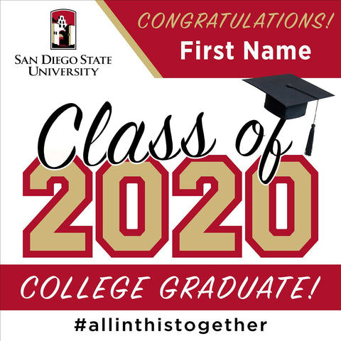 San Diego State University 24x24 Class of 2020 Yard Sign (Option A)