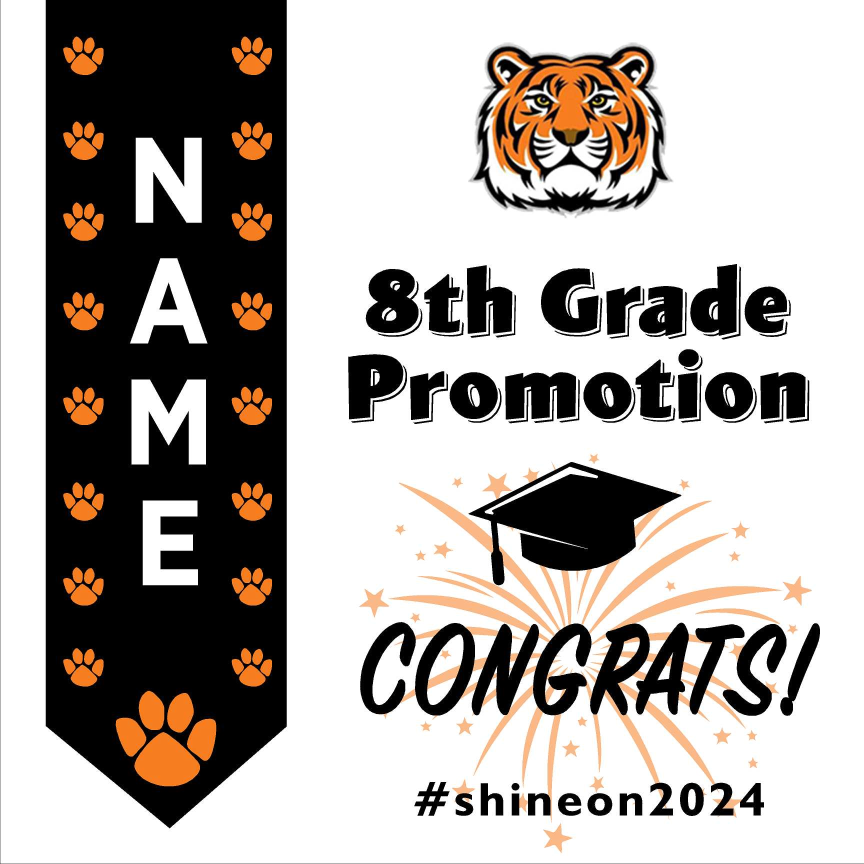 Sequoia Elementary School 5th Grade Promotion 24x24 #shineon2027 Yard Sign (Option B)