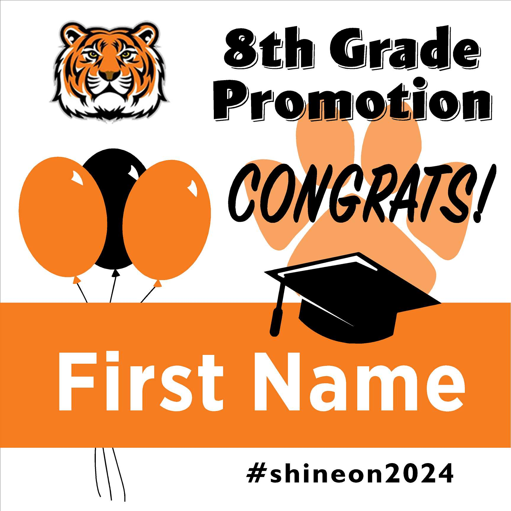 Sequoia Elementary School 5th Grade Promotion 24x24 #shineon2027 Yard Sign (Option A)