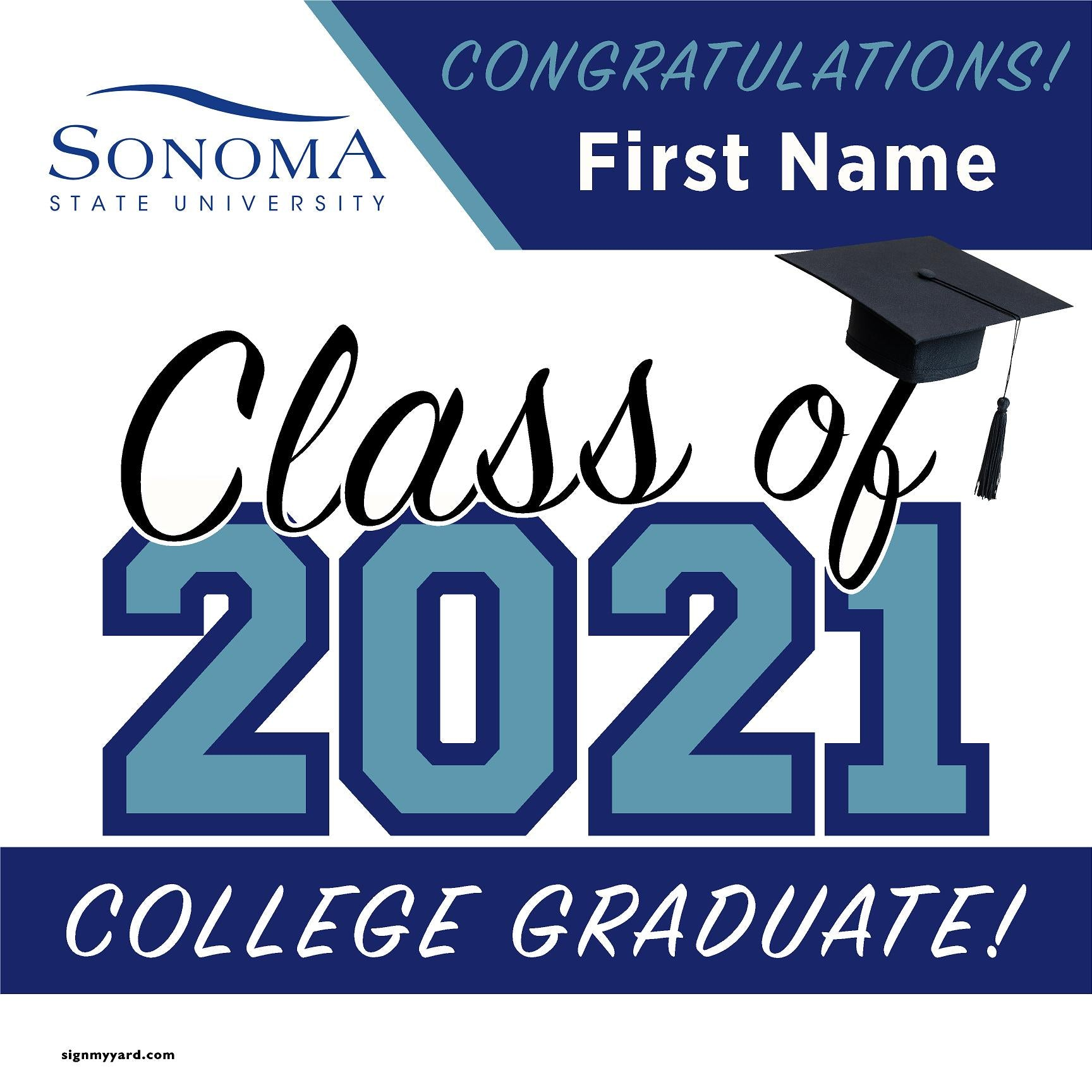 Sonoma State University 24x24 Class of 2020 Yard Sign (Option A)