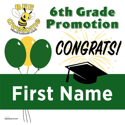 Springer Elementary School 6th Grade Promotion 24x24 Yard Sign (Option A)