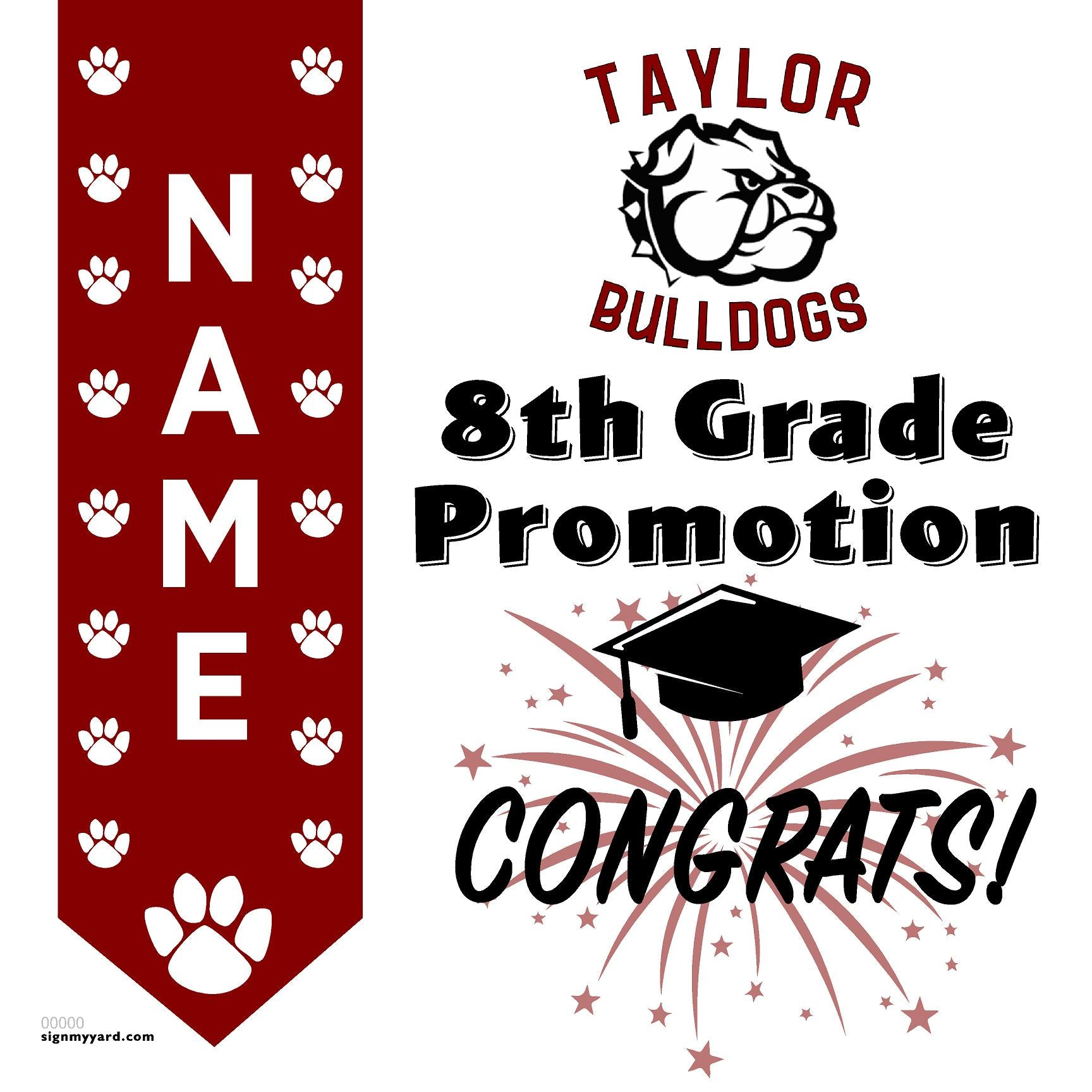 Taylor Middle School 8th Grade Promotion 24x24 #shineon2024 Yard Sign (Option B)