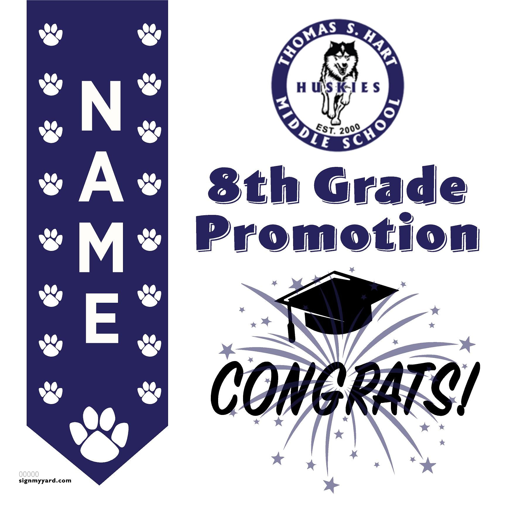 Thomas Hart Middle School 8th Grade Promotion 24x24 #shineon2024 Yard Sign (Option B)
