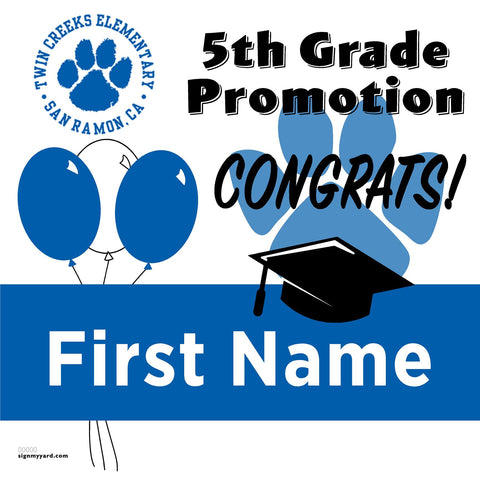 Twin Creeks Elementary School 5th Grade Promotion 24x24 #shineon2027 Yard Sign (Option A)