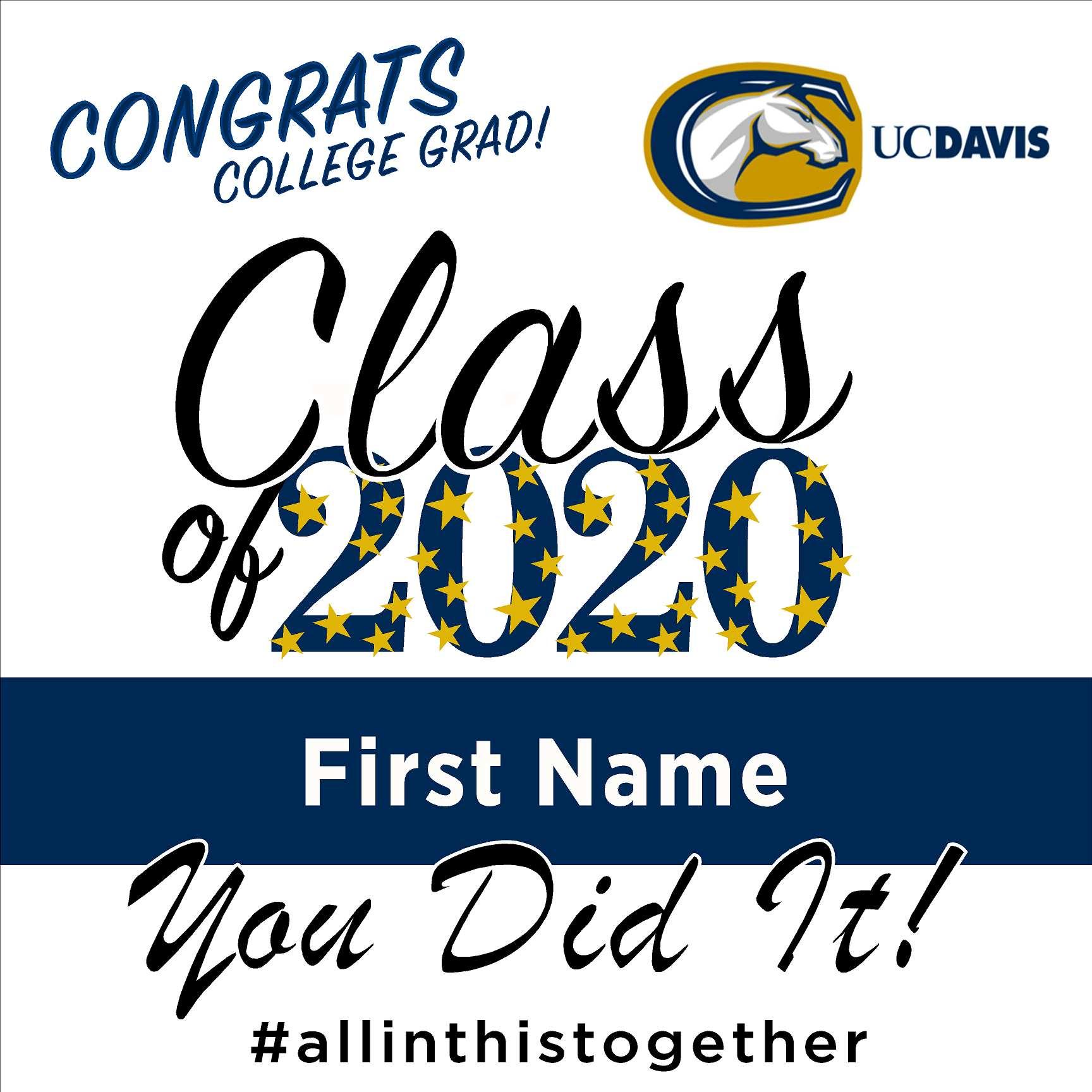 University of California Davis 24x24 Class of 2020 Yard Sign (Option B)