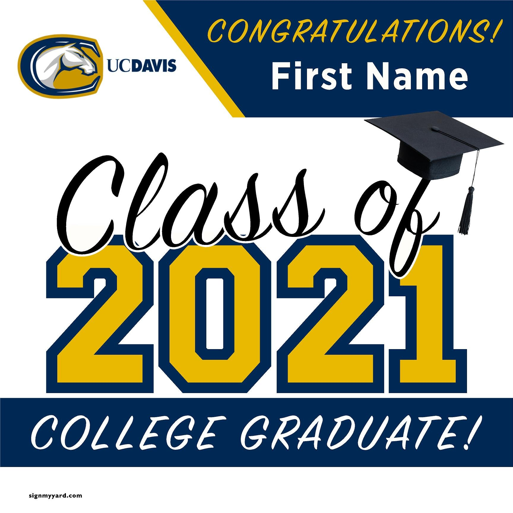 University of California Davis 24x24 Class of 2021 Yard Sign (Option A)