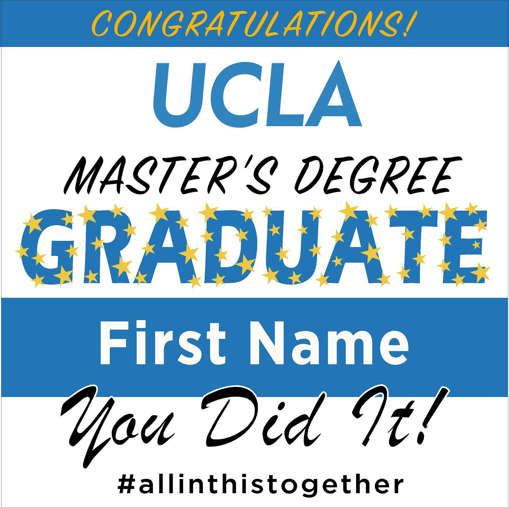 UCLA (Masters Graduate) 24x24 Class of 2020 Yard Sign (Option B)