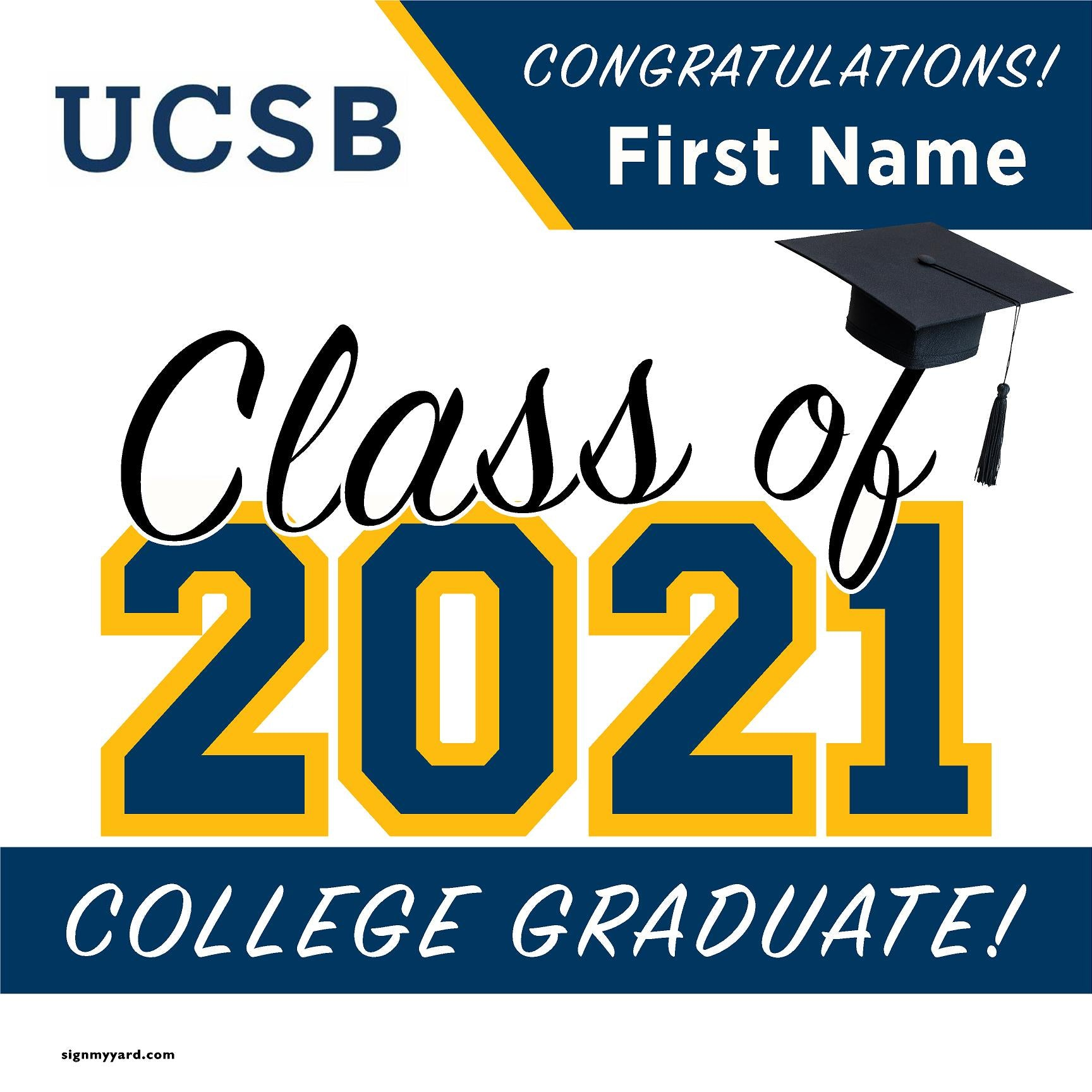 UC Santa Barbara 24x24 Class of 2020 Yard Sign (Option A)