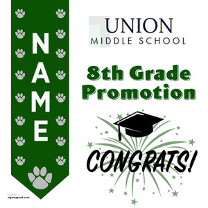 Union Middle School 8th Grade Promotion 24x24 #shineon2024 Yard Sign (Option B)
