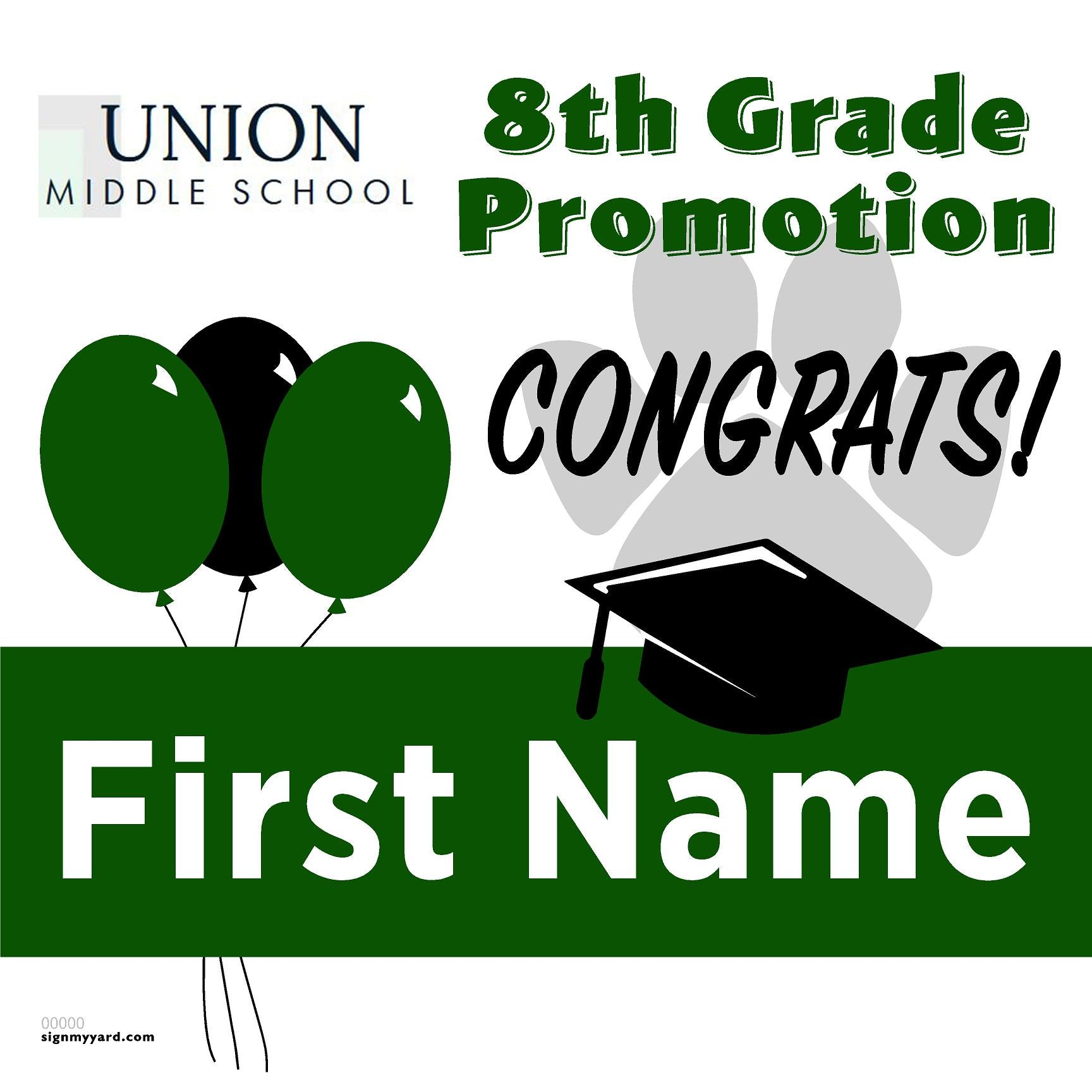 Union Middle School 8th Grade Promotion 24x24 #shineon2024 Yard Sign (Option A)