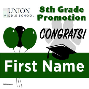 Union Middle School 8th Grade Promotion 24x24 Yard Sign (Option A)