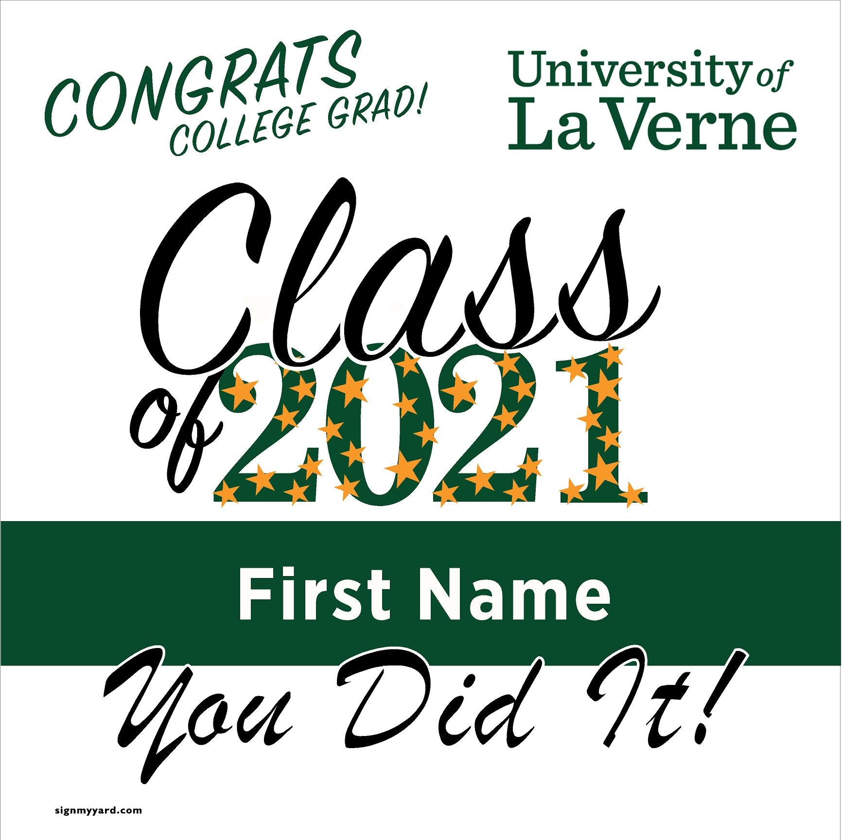 University of La Verne 24x24 Class of 2020 Yard Sign (Option B)
