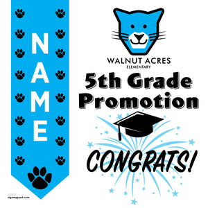 Walnut Acres Elementary School 5th Grade Promotion 24x24 #shineon2027 Yard Sign (Option B)