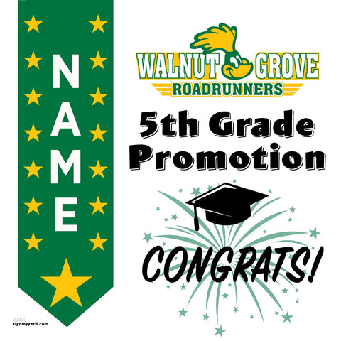 Walnut Grove Elementary School 5th Grade Promotion 24x24 #shineon2027 Yard Sign (Option B)
