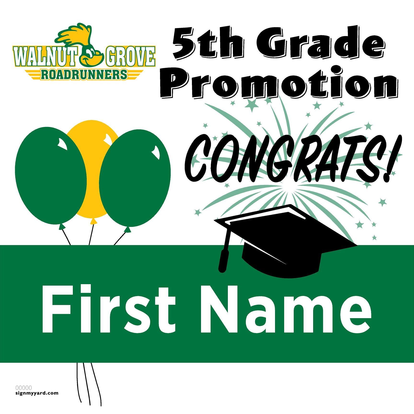 Walnut Grove Elementary School 5th Grade Promotion 24x24 #shineon2027 Yard Sign (Option A)