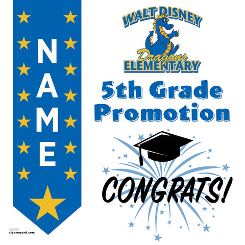 Walt Disney Elementary School 5th Grade Promotion 24x24 #shineon2027 Yard Sign (Option B)