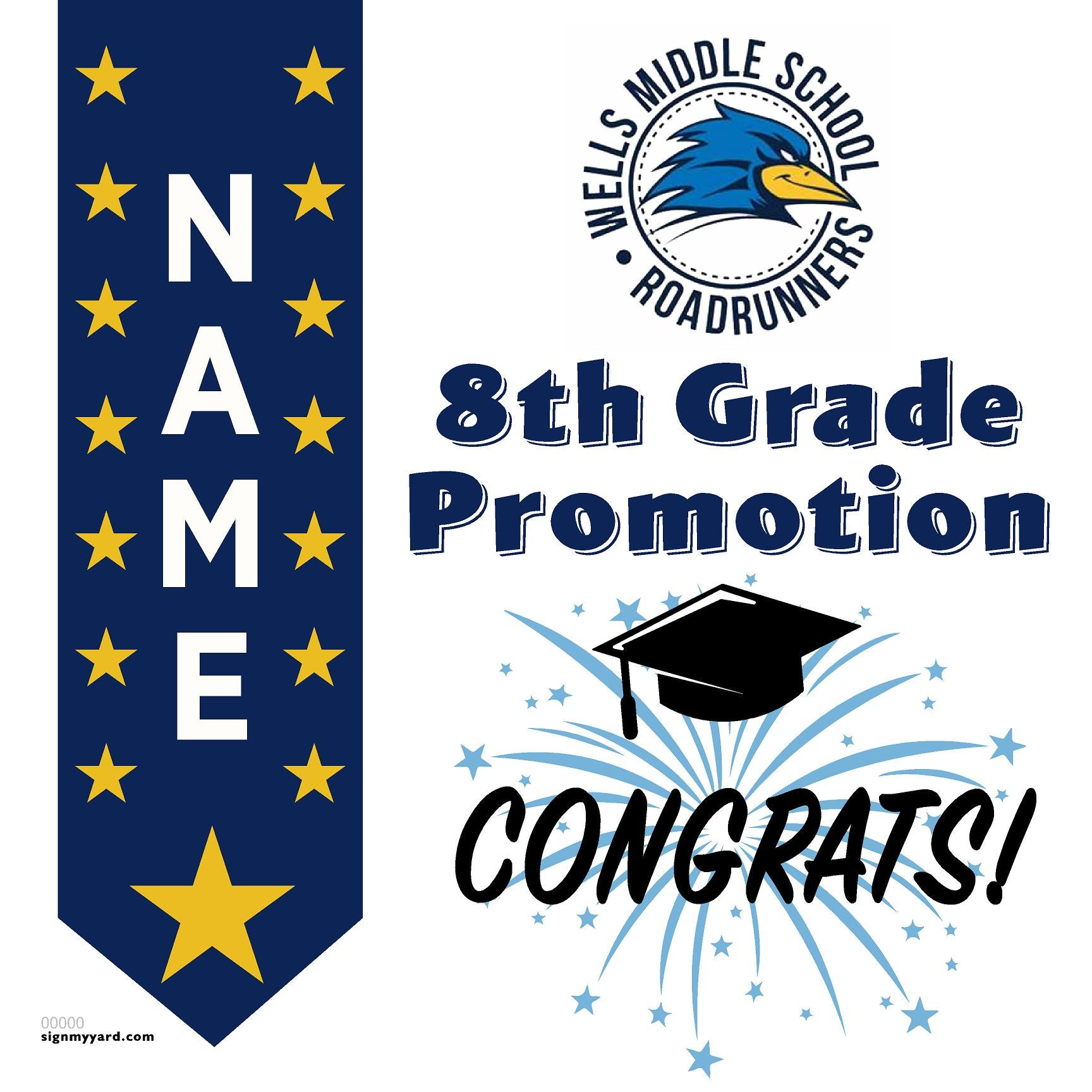 Wells Middle School 8th Grade Promotion 24x24 #shineon2024 Yard Sign (Option B)