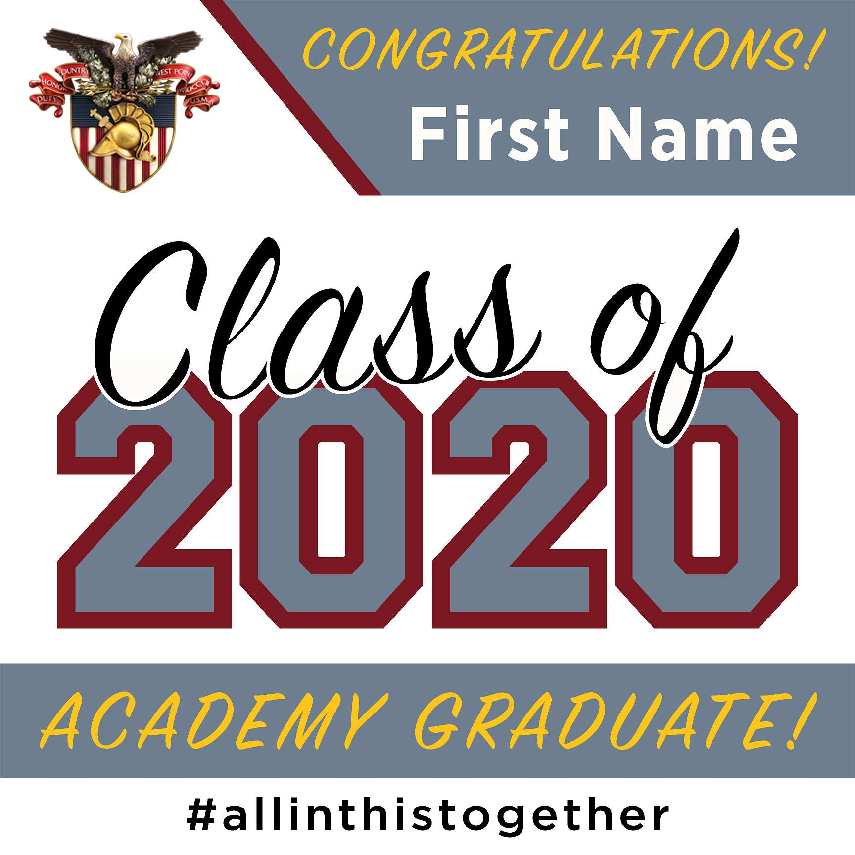 West Point Military Academy 24x24 Class of 2020 Sign (Option A)