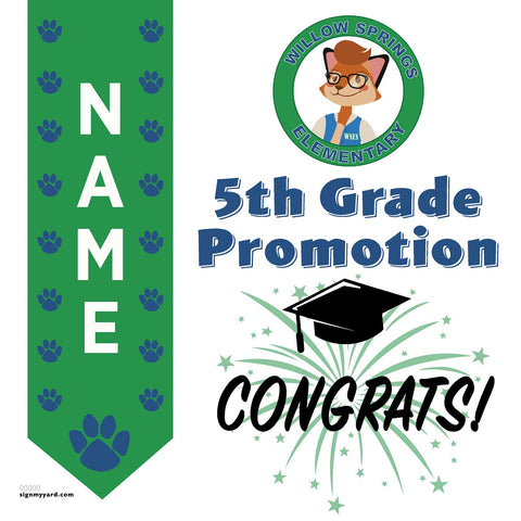 Willow Springs Elementary Virginia 5th Grade Promotion 24x24 #shineon2027 Yard Sign (Option A)