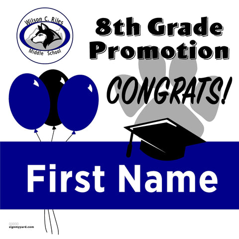 Wilson C. Riles Middle School 8th Grade Promotion 24x24 #shineon2024 Yard Sign (Option A)