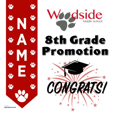Woodside Elementary School 8th Grade Promotion 24x24 #shineon2024 Yard Sign (Option B)
