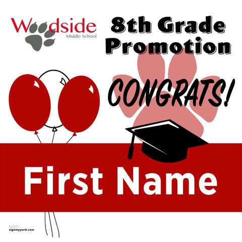 Woodside Elementary School 8th Grade Promotion 24x24 #shineon2024 Yard Sign (Option A)