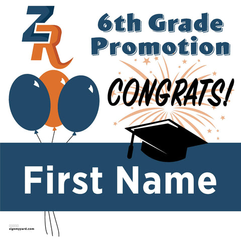 Zehnder Rach Elementary School 6th Grade Promotion 24x24 Yard Sign (Option A)
