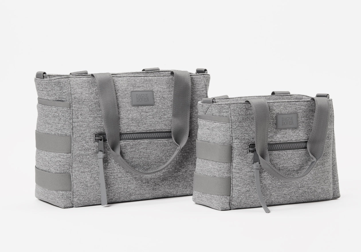 Wade Diaper Tote in Heather Grey Small and Large