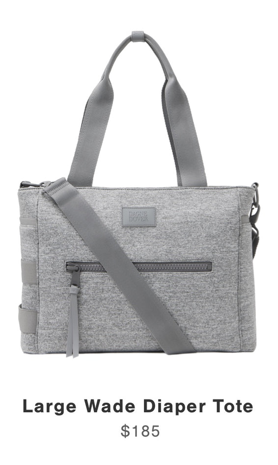 Wade Diaper Tote in Heather Grey Large