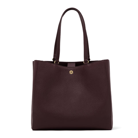 Allyn Tote in Oxblood, Large