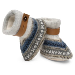 Qisu Polar Fleece Baby Booties for Boys and Girls - Rock Mountain Grey - QISU