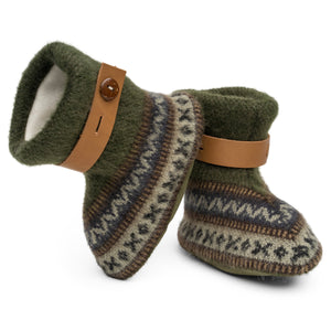 Qisu Polar Fleece Baby Booties for Boys and Girls - Green Forest - QISU