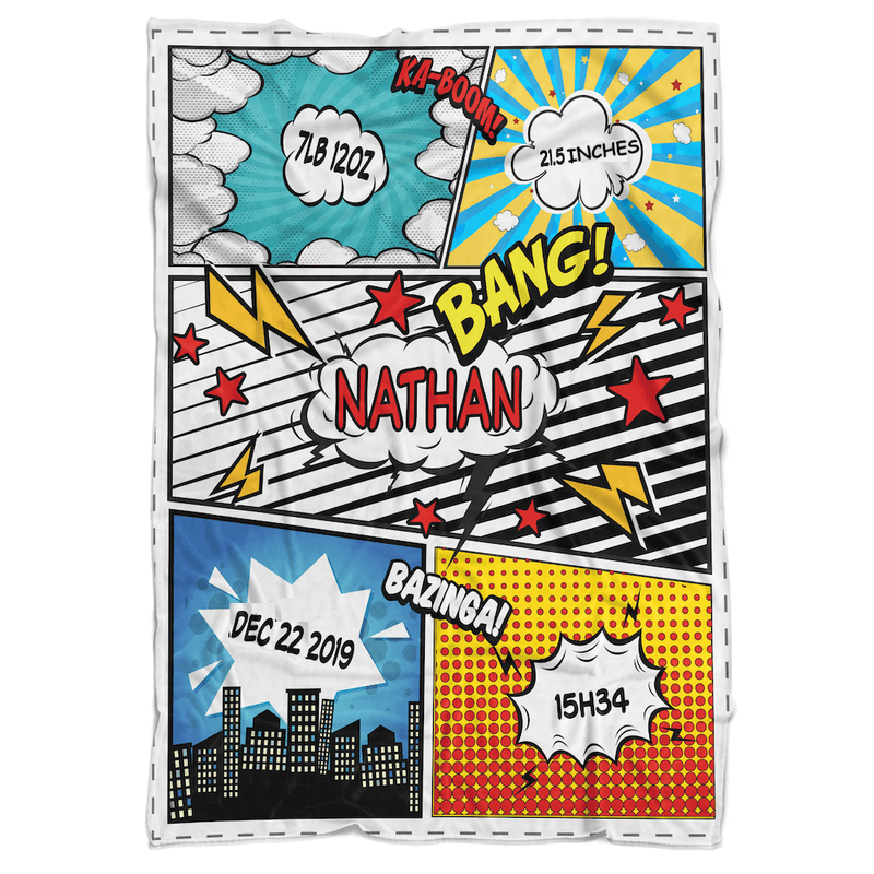 Comic Boy Personalized Minky Blanket - BitsyBon