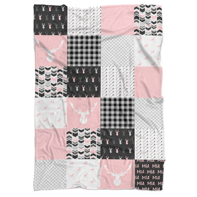 Deer Patchwork Personalized Minky Blanket - BitsyBon