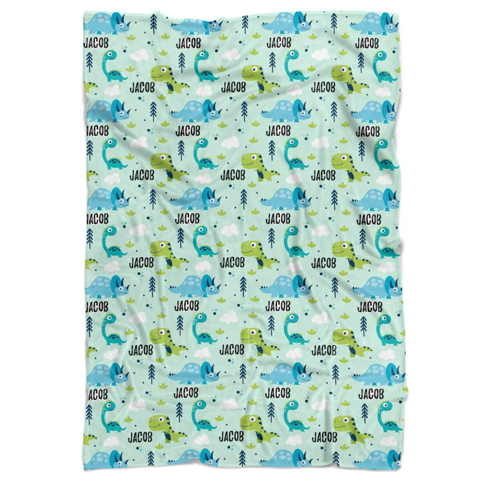 Green Dinosaurs Personalized Minky Blanket - BitsyBon