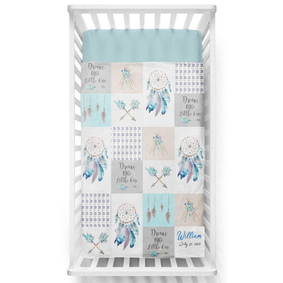 Dream Big Blue Patchwork Personalized Minky Blanket - BitsyBon