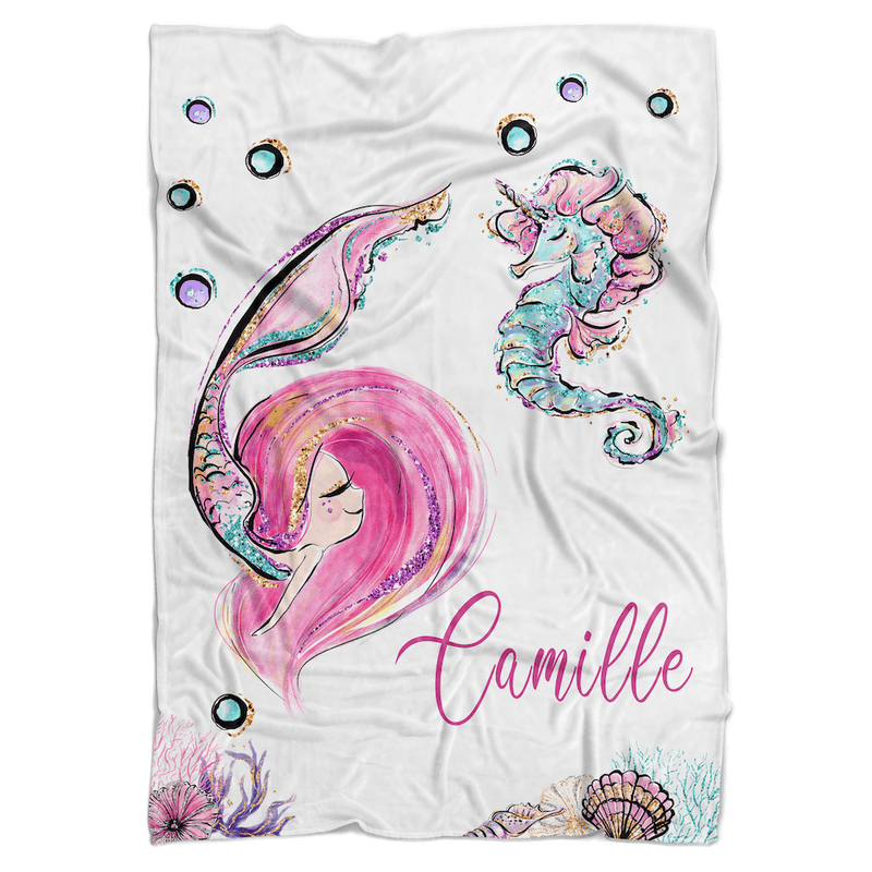 Mermaid Pink Personalized Minky Blanket - BitsyBon