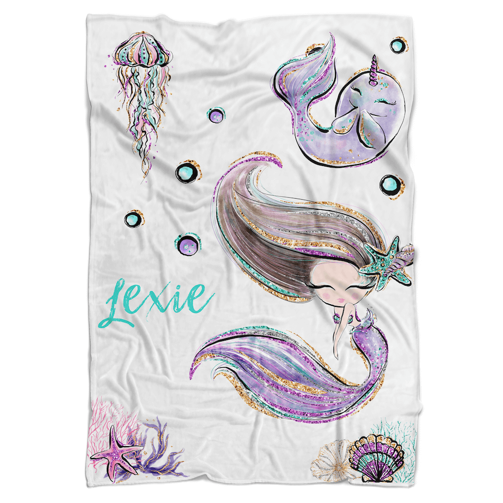 Mermaid Purple Personalized Minky Blanket - BitsyBon