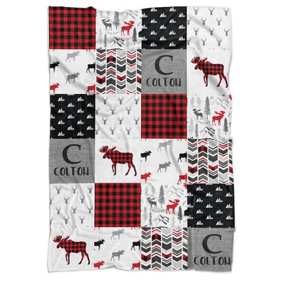 Moose Patchwork Personalized Minky Blanket (multiple colours available) - BitsyBon