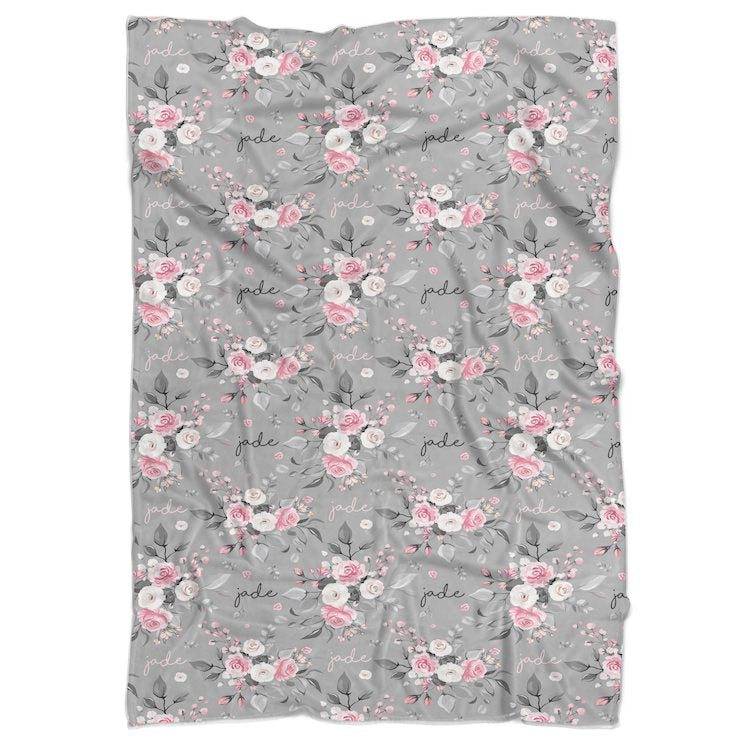 Grey Rose Personalized Minky Blanket