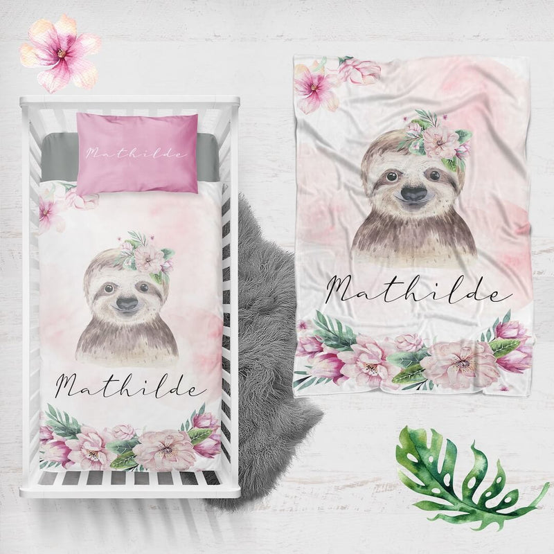 Sloth Personalized Minky Blanket - BitsyBon