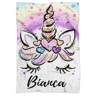 Sparkling Unicorn Princess Personalized Minky Blanket (multiple colours available) - BitsyBon