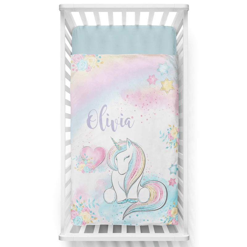Rainbow Unicorn Personalized Minky Blanket - BitsyBon