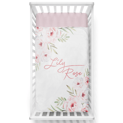 Flawless White Rose Personalized Minky Blanket - BitsyBon