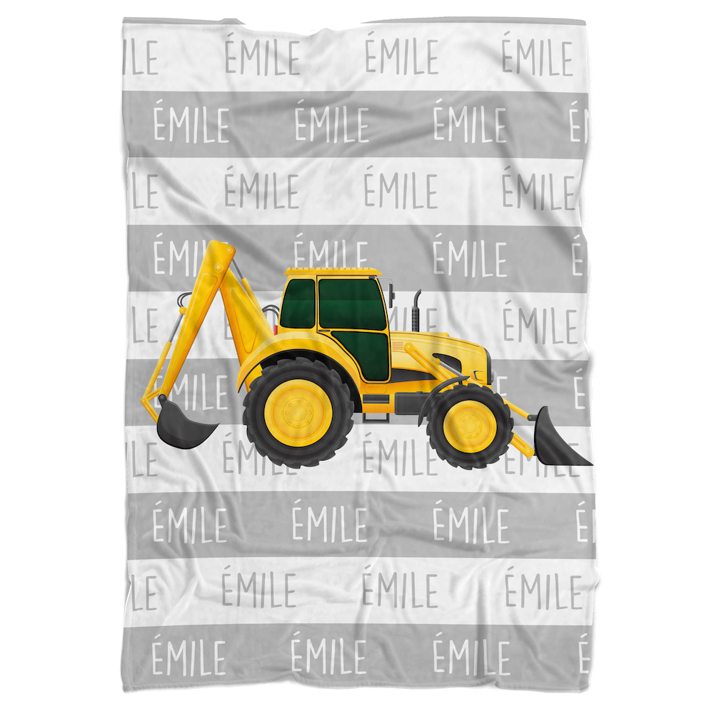 Construction Machine Personalized Minky Blanket - BitsyBon