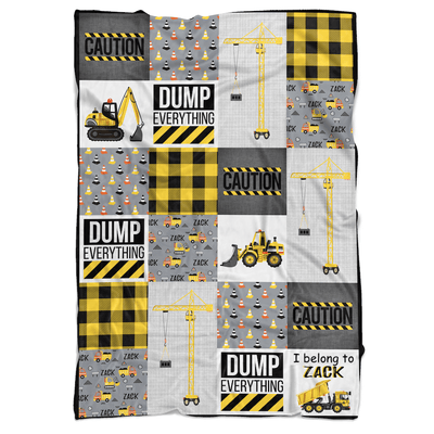 Construction Patchwork Personalized Minky Blanket - BitsyBon